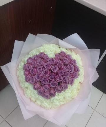 101  эквадорская роза в виде сердца - 70 см