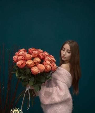 Букет из 21 оранжевой эквадорской розы