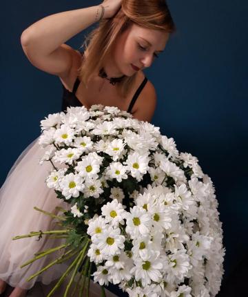 Букет из 27 белоснежных хризантем