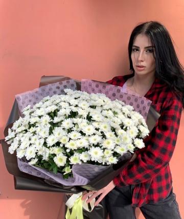 Букет из белых кустовых хризантем - 21 шт
