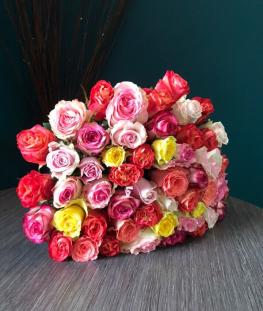 Букет из 51 эквадорской розы (микс)