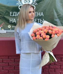 Букет из 51 розовой российской розы